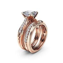 925 Sterling Silver Fashion 18k Rose Gold Bride Ring Round Cut Cubic Zirconia Anniversary Promise Rings Set CZ Classic Eternity Engagement Wedding Band Ring for Women (US Code 8)