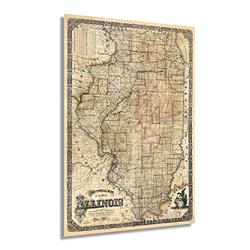 Historix Vintage 1861 Illinois State Map - 24x36 Inch Vintage Map Illinois Wall Art - Illinois Wall Decor - Map of Illinois Poster - Wall Map of Illinois - State of Illinois Map (2 Sizes)