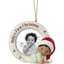 Precious Moments 201010A Baby's 1st Photo Frame Bisque Porcelain, African-American Christmas Ornament, One Size, Multicolored
