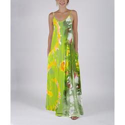 Beyond This Plane Women's Maxi Dresses GRN - Green & Yellow Tie-Dye Pocket Sleeveless Maxi Dress - Women & Plus