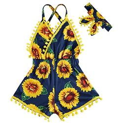Baby Girls Onesie Funny Sunflower Backless Jumpsuits Floral Yellow Sunsuits with Cute Balls Tassel Playuits Lovely Off-Shoulder Toddler 2Pcs Birthday Photography with Headband for 12-24 Months