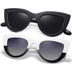 Joopin Polarized Cateye Sunglasses for Women, Elegant Cat Eye Womens Sun Glasses (Black+White)