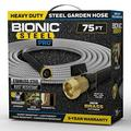 Bionic Steel PRO Garden Hose - 304 Stainless Steel Metal 75 Foot Garden Hose – Heavy Duty Garden Hose Lightweight, Kink-Free, Stronger Than Ever with Brass Fittings and On/Off Valve – 2021 Model