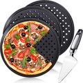 Pizza Crisper Set of 4, Includes 3 Piece Perforated Pizza Pan 13 Inch Carbon Steel Non Stick Pizza Crisper Pan with Holes Round Tray Baking Pan and 1 Piece Pizza Cake Cutter Slicer for Home Restaurant