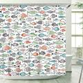 Stacy Fay Multi-Color Fishes Shower Curtain, Kids Shower Curtains Set with 12 Hooks, Waterproof Shower Curtain for Bathroom, 72 x 72 Inch, Cartoon Funny Fishes Ocean Animals