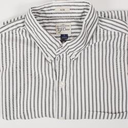 J. Crew Shirts | J.Crew Shirts - J.Crew Slim 2 Ply Cotton Stripe | Color: Gray/White | Size: L
