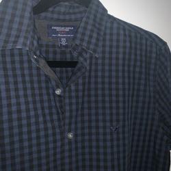 American Eagle Outfitters Shirts | American Eagle Cotton Plaid Size M Button Down | Color: Black/Blue | Size: M