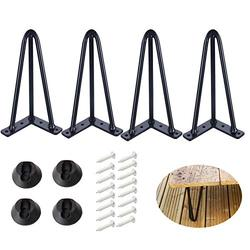 """ALXEH 8 Inch Hairpin Table Legs 1/2"""" Dia 3-Rods Hairpin Feet, DIY Black Hairpin Coffee Table Legs Heavy Duty Metal Furniture Leg for Side Table, Bench and Nightstand, Set of 4"""