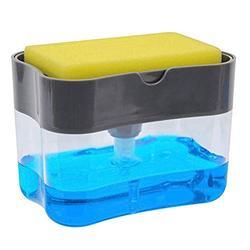TOPBATHY Kitchen Soap Dispenser Sponge Holder Manual Press Liquid Foam Soap Pump Bottle Dispenser for Sink Countertop (with Sponge Without Soap)