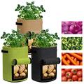 Grow Bags 3 Gallon - 3 Pack Potato Grow Bags Two SidesVelcro Window Vegetable Grow Bags, Double Layer Premium Breathable Nonwoven Cloth for Potato/Plant Container/Aeration Fabric Pots with Handles