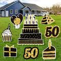 URATOT 8 Pack Adult 50th Birthday Yard Sign Gold Happy Birthday Balloon Cupcake Yard Sign with Stakes Outdoor Lawn Decorations Party Decorations