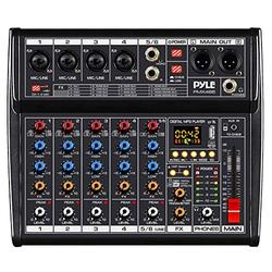 Professional DJ Audio Mixer Controller - 6-Channel DJ Controller Sound Mixer w/ DSP 16 Preset Effects, USB Interface, 4 XLR Mic/Line Input, AUX, FX Processor MP3 Player, Headphone Jack - Pyle PMX466
