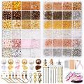 9156pcs Jewelry Making Supplies Kit, Pony Seed Pearl Bugle Beads Crystal Chips with Earring Hook,Earring Hold Card,Earring Back,Jump Rings,Lobster Clasp,Tweezers for Earring Starter Making Repair…