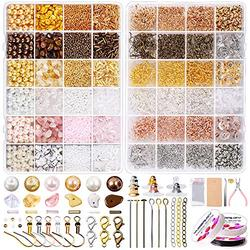 Jewelry Making Supplies Kit, Pony Seed Pearl Bugle Beads Crystal Chips with Earring Hook,Earring Hold Card,Earring Back,Jump Rings,Lobster Clasp,Tweezers for Earring Starter Making and Repair