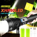 XHP90 Flashlight 100000 High Lumens High Power LED Flashlight USB Rechargeable With 26650 Rechargeable Batteries Zoomable 3 Modes Ip68 Waterproof for Camping Outdoor Emergency Flashlights