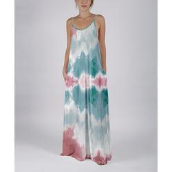 Beyond This Plane Women's Maxi Dresses PNK - Pink & Turquoise Tie-Dye Sleeveless Pocket Maxi Dress - Women & Plus