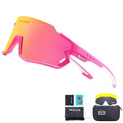 Bicycle Polarized Sunglasses Sports Cycling Sunglasses with 3 Interchangeable(Pink)