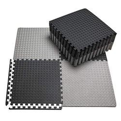 innhom Gym Flooring Gym Mats Exercise Mat for Floor Workout Mat Foam Floor Tiles for Home Gym Equipment Garage, 12 Black and 12 Gray