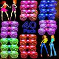 AY 40 Pack LED Party Light Up Glasses, 5 Colors Glow in the Dark Shutter Shades Party Favors for Adults Kids Thansgiving Carnival Rave Halloween Birthday Party