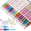 Glitter Paint Markers, 16 Pack Glitter Markers and Double Line Outline Markers for Bullet Journal Pens & Colored Permanent Marker Pens for Kids(8 Glitter Pens+8 Outline Pens)