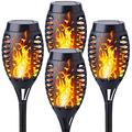 4 Pack Mini Solar LED Flame Lights Outdoor Dancing Flickering Tiki Torches Tribal Pattern Stake Light for Outdoor Garden Patio Driveway Landscape Pathway Yard Decor