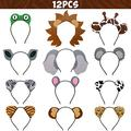 12pcs Jungle Animal Headbands Safari Party Favors Wild One Birthday Photo Booth Props Zoo Animals Party Decorations Jungle Animal Birthday Party Decor Party Animal Hair Hoop for Kids Adults Green