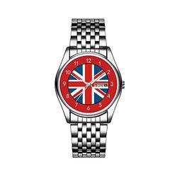 Luxury Brand Stainless Steel Japanese Quartz Analog Display Date Week Waterproof Men's Quartz Watch Business Male Wristwatches Union Jack Flag Black Leather Men's Watch