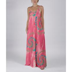 Beyond This Plane Women's Maxi Dresses PNK - Pink & Blue Tie-Dye Pocket Sleeveless Maxi Dress - Women & Plus
