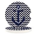 Nautical Anchor Black Chevron Absorbent Car Coasters for Cup Holders Blue Easy Removal from Auto Cupholder +Ceramic Car Accessories Coasters (6 Pack)