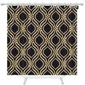 oFloral Arabian Style Extra Long Fabric Shower Curtain 72 x 96 inch Black and Gold Texture Shower Curtains for Bathroom