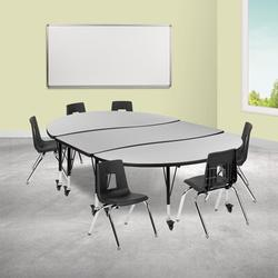 """Flash Furniture Mobile 7 Pieces Adjustable Height Oval Activity Table & 14"""" H Chair SetLaminate/Metal in Green, Size 25.0 H x 86.0 W x 60.0 D in"""