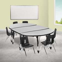 """Flash Furniture Mobile 7 Pieces Adjustable Height Oval Activity Table & 14"""" H Chair SetLaminate/Metal in Green, Size 25.0 H x 76.0 W x 47.5 D in"""