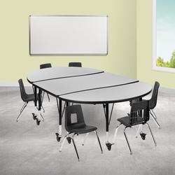 """Flash Furniture Mobile 7 Pieces Adjustable Height Oval Activity Table & 12"""" H Chair Set Laminate/Metal in Green, Size 25.0 H x 76.0 W x 47.5 D in"""