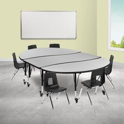 """Flash Furniture Mobile 7 Pieces Adjustable Height Oval Activity Table & 12"""" H Chair Set Laminate/Metal in Green, Size 25.0 H x 86.0 W x 60.0 D in"""