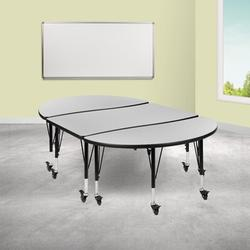 Flash Furniture Adjustable Height Oval Activity Table w/ Casters Laminate/Metal in Green, Size 25.0 H x 76.0 W x 47.5 D in   Wayfair