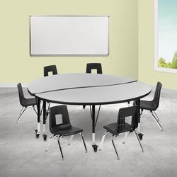 "Flash Furniture Mobile 7 Piece Adjustable Height Circular Activity Table & 12"" H Chair Set Laminate/Metal   Wayfair"