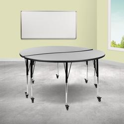 Flash Furniture Mobile Adjustable Height Circular Activity Table w/ Casters Laminate/Metal in Green, Size 25.0 H x 60.0 W x 48.0 D in   Wayfair