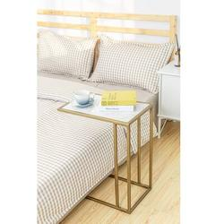 Everly Quinn Benji C Table End Table Marble Look in Gray/White/Yellow, Size 24.0 H x 19.0 W x 12.0 D in | Wayfair 6BA162643BC943109DB4136DAA90DF1C
