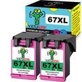 YATUNINK Remanufactured 67 Ink Cartridge Replacement for HP 67XL Tri-Color 67 XL Ink Cartridge for HP DeskJet 1255 DeskJet 2732 DeskJet 2752 2755 Envy Pro 6452 6455 6458 Printer Ink (2 Tri-Color)