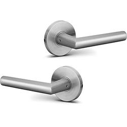 Berlin Modisch Dummy Lever Door Handle Pack of 2 Sleek Round Non-Turning Single Side Pull Only Lever Set [for Closet or French Doors] Heavy Duty - Satin Nickel Finish