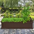 """Arlmont & Co. Russ 4 ft x 2 ft Plastic Raised Garden Bed, Set of: 1, Plastic in Brown, Size 12""""H X 48""""W X 24""""D 