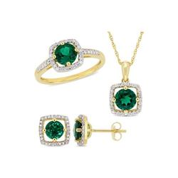 Belk & Co. Yellow 3-Piece Set Created Emerald and 1/3 ct. t.w. Diamond Square Halo Stud Earrings, Necklace and Ring Set in 10K Yellow Gold