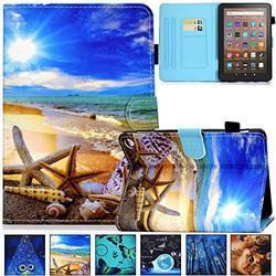 Kindle Fire HD 8 Plus 2020 Case, Artyond PU Leather Card Slot Smart Cover with Auto Sleep/Wake Slim Stand Case for Amazon Kindle Fire HD 8 Plus/Fire HD 8 10th Gen 2020 Release, Sky Beach