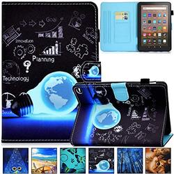 Kindle Fire HD 8 Plus 2020 Case, Artyond PU Leather Card Slot Smart Cover with Auto Sleep/Wake Slim Stand Case for Amazon Kindle Fire HD 8 Plus/Fire HD 8 10th Gen 2020 Release, Blue Bulb