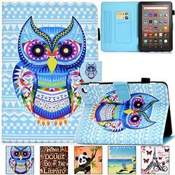 Kindle Fire HD 8 Plus 2020 Case, Artyond PU Leather Card Slot Smart Cover with Auto Sleep/Wake Slim Stand Case for Amazon Kindle Fire HD 8 Plus/Fire HD 8 10th Gen 2020 Release (Blue Owl)