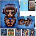 Kindle Fire HD 8 Plus 2020 Case, Artyond PU Leather Card Slot Smart Cover with Auto Sleep/Wake Slim Stand Case for Amazon Kindle Fire HD 8 Plus/Fire HD 8 10th Gen 2020 Release (Monkey)
