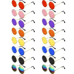 16 Pairs Round Hippie Glasses Colorful Retro Hippie Glasses 60's Style Circle Glasses for Party Favors (Retro Color Set)