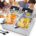 Commercial Deep Fryer Countertop for Home with 2 x 6.34 QT Removable Tanks and Baskets, Electric Double Deep Fryer Large Capacity for French Fries Fish Turkey