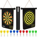 ENAPA Magnetic Dart Board for Kids - Safe Magnetic Darts - Outdoor and Indoor Dart Board Game for Boys and Adults - Kids Dart Game - Double Sided Magnetic Dartboard - Game Set with 12 Safety Darts