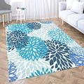 Dethel Blue Area Rug Carpet Area Rug Contemporary Area Rugs 5X7 Spring Flower Blue and Navy Chrysanthemum Flowers for Home Décor,Indoor,Living,Dining Room Washable Area Rugs Huge Area Rug